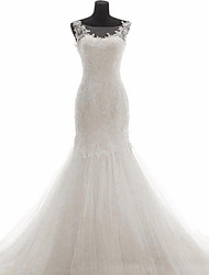 Trumpet/Mermaid Wedding Dress-White Sweep/Brush Train Bateau Lace Tulle