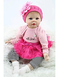 NPKDOLL Reborn Baby Doll Soft Silicone 22inch 55cm Magnetic Mouth Lovely Lifelike Cute Boy Girl Toy Pink Flower