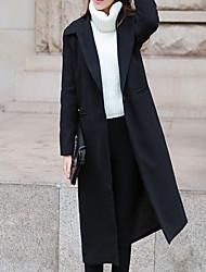 Women's Solid Blue / Black Coat , Casual / Day Long Sleeve Wool