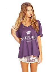 Women's Solid White / Purple Blouse , Round Neck Short Sleeve