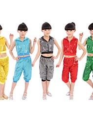 Jazz Outfits Kinderen Prestatie Katoen Pailletten 2-delig Zwart / Blauw / Donkergroen / Rood / Geel Jazz Broeken / Bovenkleding