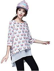 Women's Animal Print White Blouse , Round Neck Long Sleeve