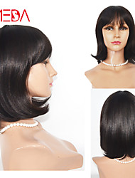 2016 New Style BOB Human Hair Wigs Short Hair Wigs With Bang Straight 12inch Dark Brown Fashion Machine Made Wig