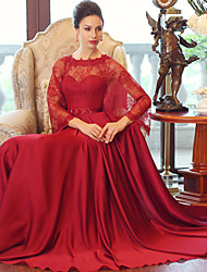 Formal Evening Dress - Burgundy Ball Gown Scoop Floor-length Satin Chiffon