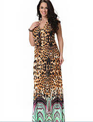 Women's Plus Sizes / Beach / Party Leopard Loose Dress , Halter Midi Spandex / Others