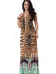 Women's Beach Plus Size Dress,Leopard Halter Midi Sleeveless Yellow Spandex / Others Summer