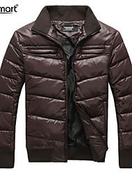 Lesmart Hombre Escote Chino Manga Larga Abajo y abrigos esquimales Gris / Marrón - MDME10413
