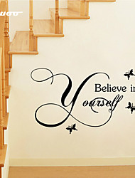 AWOO® Believe In Yourself Wall Sticker DIY Home Decorations Quotes Vinyl Wall Decals Wall Mural Art