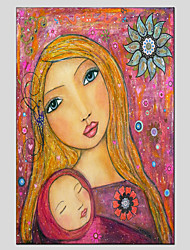 Stretched Canvas Oil Painting Art Little Girl And MoM Style Children Painting 60*90CM