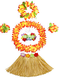 40cm Kid's Fire-Proof Double Layers Hawaiian Carnival Hula Dress Wristbands Necklace Bra and Headpiece