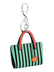 Trendy Fashion Acrylic Car Key Holder Women Handbag Purse Zebra Stripe Bag Heart Keychain Charm Gifts