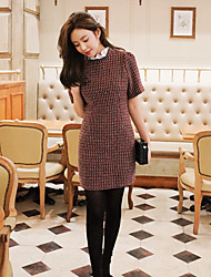Korean Style Women's Work / Casual / Day Polka Dot A Line Dress , Stand Above Knee Cotton