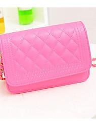 Women PU Messenger Shoulder Bag - White / Pink / Yellow / Black