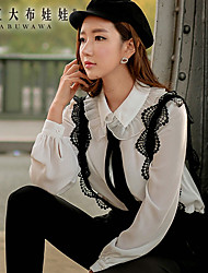 Women's Color Block White Shirt , Ruff Collar Short Sleeve