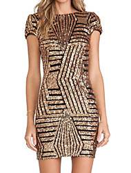 Summer Women's Sexy Backless Striped Sequin Round Neck Short Sleeve Party Cocktail OL Slim Pack Hip Dress
