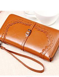 Women Cowhide Bi-fold Clutch / Evening Bag / Card & ID Holder / Wristlet / Checkbook Wallet