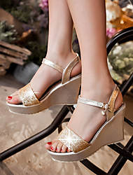 Women's Shoes Heel Wedges / Heels / Peep Toe / Platform Sandals / Heels Outdoor / Dress / Casual Silver / Gold