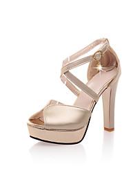 Women's Shoes Glitter / Leatherette Stiletto Heel Heels / Peep Toe / Platform Sandals Party & Evening / Dress /  Silver