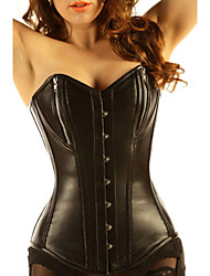 Pure Leather 14 Steel Boned Zipper Basque Corset