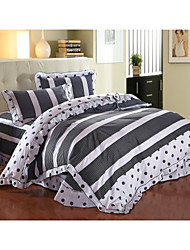 love Forever,High-end Full Cotton Reactive Printing Stripe Contemporary Bedding Set 4PC, FULL/Queen Size