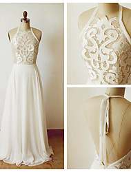 A-line Wedding Dress - Ivory Floor-length Halter Chiffon