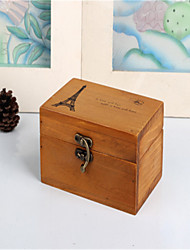Vintage Wooden Tower Box Wood Crafts Home Furnishing Storage Box  with Lock