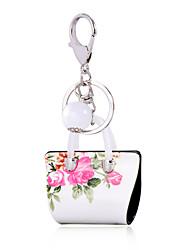 2016 White Key Chain Flower Pearl Jewelry Handbag Car Keychain Bag Women Charm Holder Key Ring Ile Phone Pendant