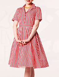 Women's Vintage Striped A Line Dress , Shirt Collar Knee-length Nylon