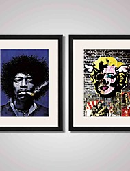 Framed Super Star Jimi Hendrix Smoking and  Marilyn Monroe Canvas Print Art for Wall Decoration  Ready To Hang
