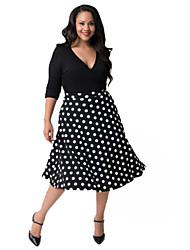 Robe Aux femmes Grandes Tailles Décontracté , Couleur Pleine / Points Polka Col en V Mi-long Polyester