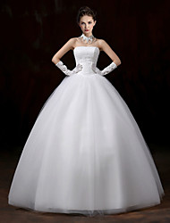 Ball Gown Wedding Dress-Floor-length Strapless Lace / Tulle