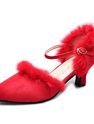 Latin Women's Dance Shoes Sandals Velvet Chunky Heel Black/Red/Grey