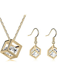Jewelry Set Classic Elegant Crystal Unique Design Square Pendant Necklace Earrings Girlfriend Gift