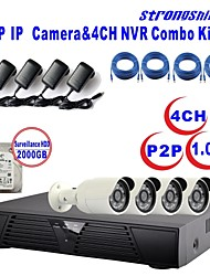 Strongshine®IP Camera with 720P/Infrared/Waterproof and 4CH  H.264 NVR/2TB Surveillance HDD Combo Kits