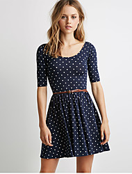 Women's Casual / Day Polka Dot Plus Size / Swing Dress , Round Neck Above Knee Cotton
