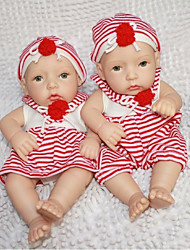 NPKDOLL Reborn Baby Doll Hard Silicone 11inch 28cm Waterproof Toy Red-White Boy and Girl