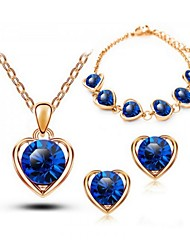 Crystal Jewelry Set Classic Elegant Unique Design Triangle Pendant Necklace Earrings Bracelet Girlfriend Gift
