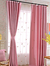 Linen Cotton Pink Flying Childhood Dragonflies Embroidery Room Darkening Curtains Drapes Two panels
