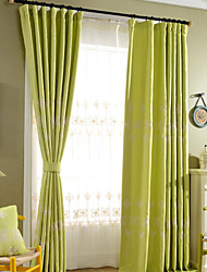 Ginger Linen Cotton White Lucky Clovers Embroidery Blackout Lined Curtains Drapes Two Panels