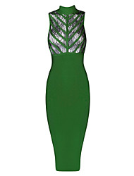 De las mujeres Corte Bodycon / Encaje Vestido Sexy / Fiesta Un Color / Retazos Midi Escote Chino Algodón / Rayón / Licra