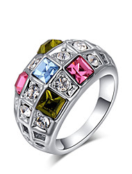T&C Women's Christmas Gift Colorful Crystals Rings For Wedding Silver Color Fashion Jewelry