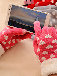 Women Youth Girls Warm Wool Knitted Hearts Touch Gloves