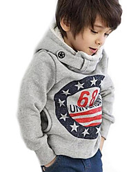 Boy's Fashion Personality British Style Double Row Button Hooded Fleece