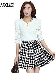 DLSXUE Women's Holiday / Cute Houndstooth / Patchwork Sheath / Black and White Dress , Round Neck Above Knee Polyester