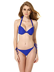 New Sexy Royal Blue Add-2-Cups Halter Top Bikini Swimwear Set with Push-up Molded Cups in Low Price