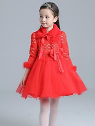 A-line Knee-length Flower Girl Dress - Satin / Tulle 3/4 Length Sleeve Queen Anne with