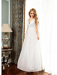 Formal Evening Dress - Ivory Ball Gown V-neck Floor-length Chiffon