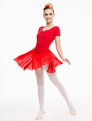 Cotton/Lycra Short Sleeve Leotards with Chiffon Skirts More Colors for Girls and Ladies