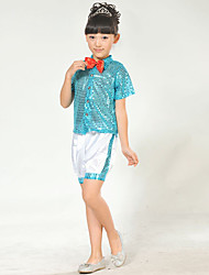 Jazz Kid's Polyster Bowknot Sequin 2 Pieces Tops Shorts