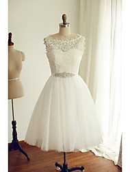 A-line Wedding Dress Tea-length Bateau Lace / Tulle with Button / Lace / Sash / Ribbon